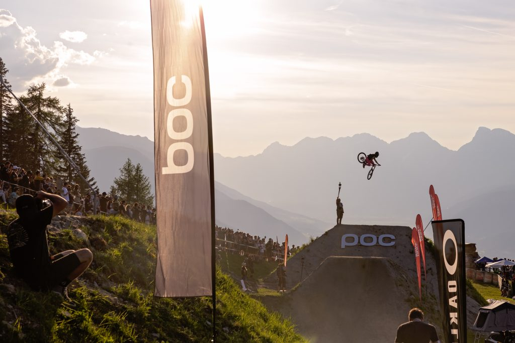 The Crankworx Whip-Off event in the set over the mountains in Innsbruck.