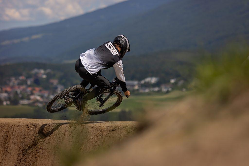 Dual slalom mountain biking practice.