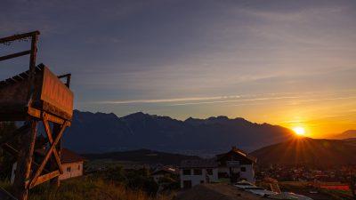 The sun rises over Crankworx Innsbruck & the bike park